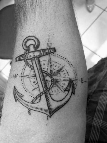 20 Compass Anchor Tattoo Men Ideas And Designs