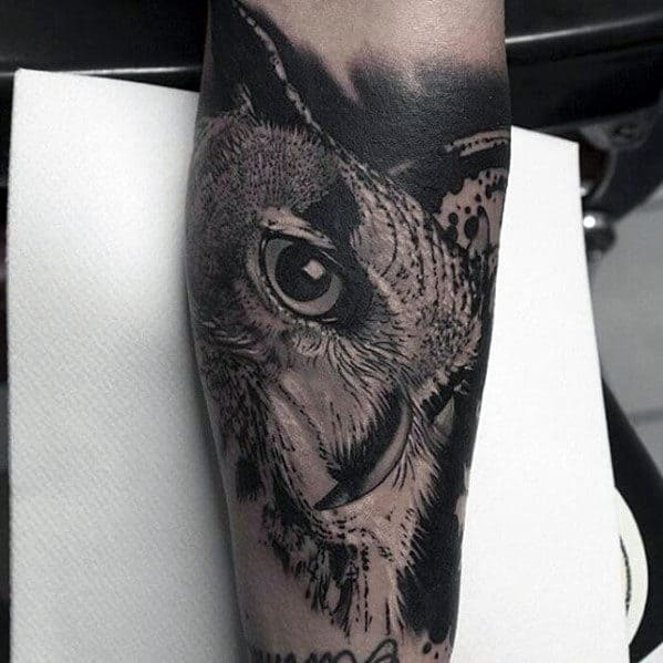 20 Black And Grey Forearm Owl Tattoos Ideas And Designs
