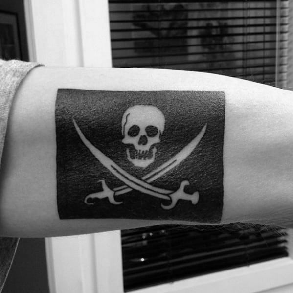 40 Pirate Flag Tattoo Designs For Men  Jolly Roger Ink Ideas
