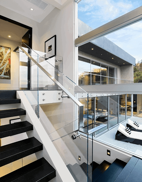 Top 70 Best Stair Railing Ideas Indoor Staircase Designs | Modern Staircase Glass Railing Designs | Commercial Building | Glass Panel Wooden Handrail | Side Glass Rail | Glass Stair | Modern Aluminium