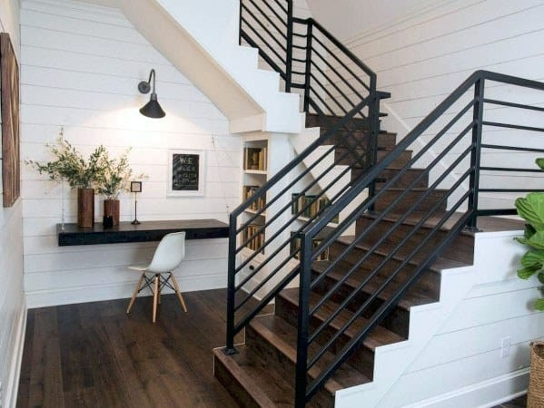 Top 70 Best Stair Railing Ideas Indoor Staircase Designs | Black And White Staircase Railing | Colour Combination | House | Indoor | 1920'S | Floors