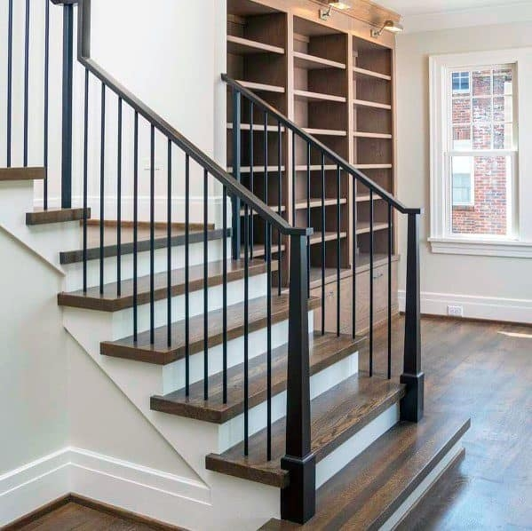 Top 70 Best Stair Railing Ideas Indoor Staircase Designs | Wood And Iron Stair Railing | Banister | Reclaimed Wood | Wrought Iron Staircase Used | Ss Railing Design | Metal