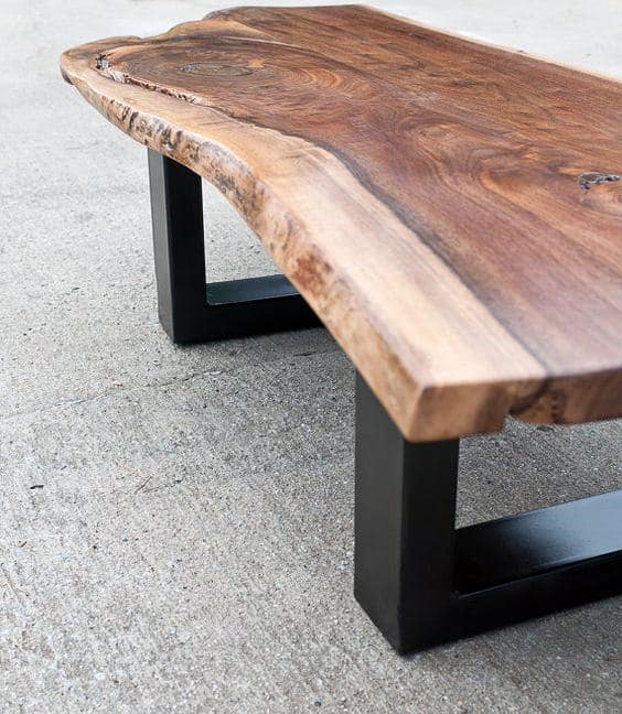 Live Edge Wood Coffee Table Man Cave Furniture Design Ideas