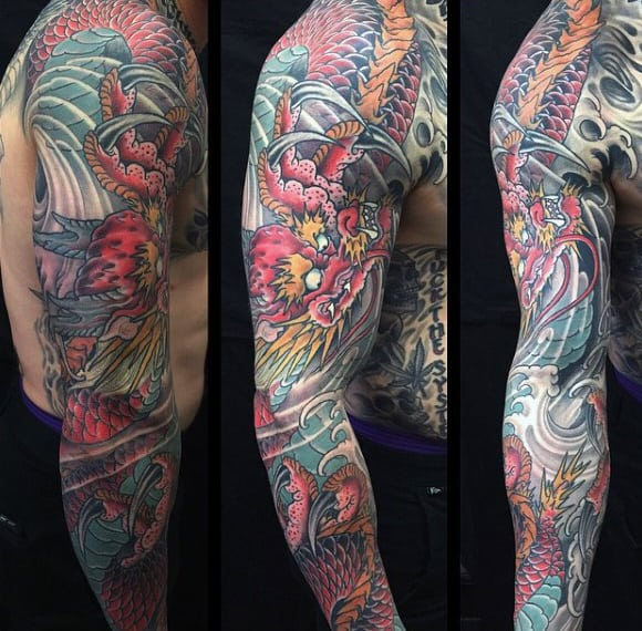 20 Rea Fire Breathing Dragon Sleeve Tattoos Ideas And Designs