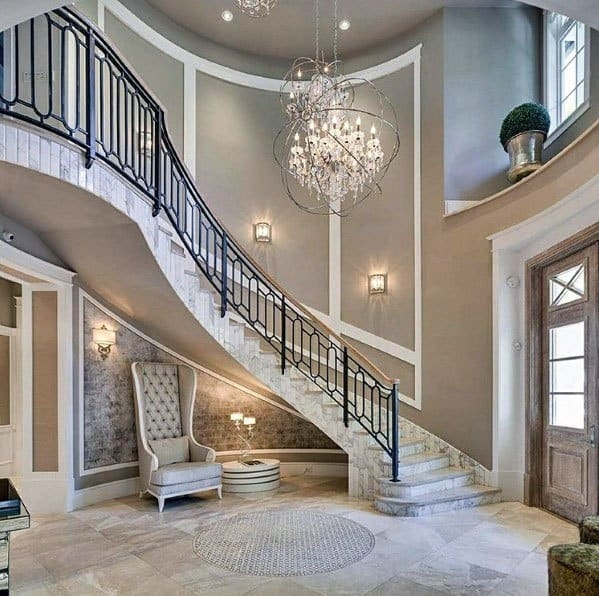 Top 70 Best Stair Railing Ideas Indoor Staircase Designs   Iron Stair Railing Indoor   Interior Wrought   Wood   Cast Iron Balusters   Rod Iron   Railing Kits