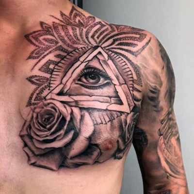 Male Chest Black Illuminati Tattoo