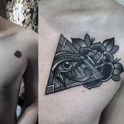 Male Chest Little Illuminati Tattoo