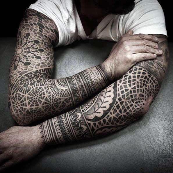 geometric tattoo sleeve design