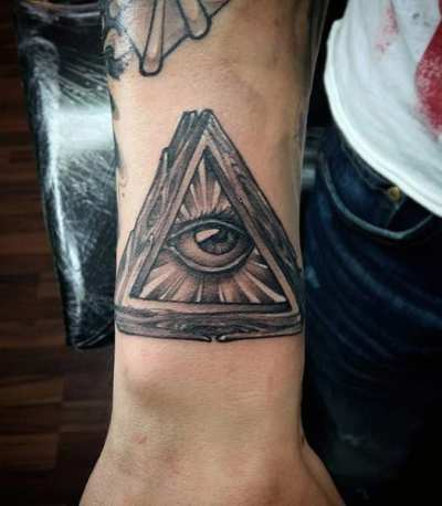Male Forearms Illuminati Tattoo