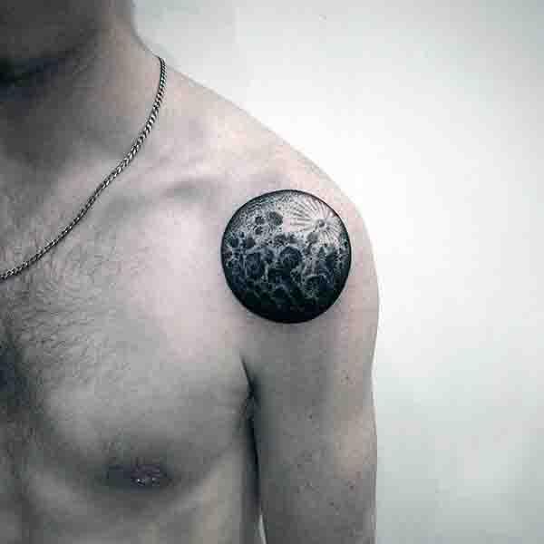 Male Full Moon Tattoos On Shoulder