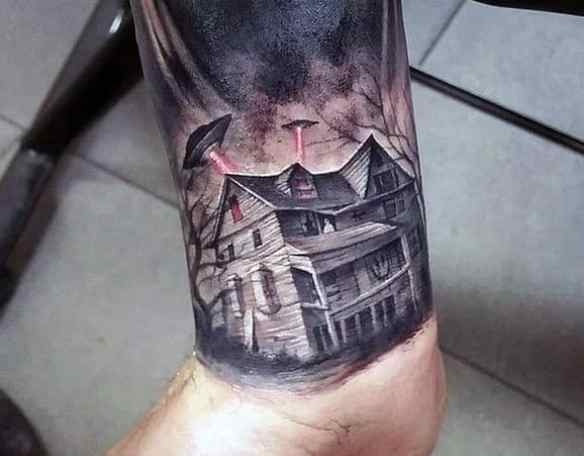 Male Incredible Tattoo Design Inspiration Haunted House With Alien Space Ship On Wrist