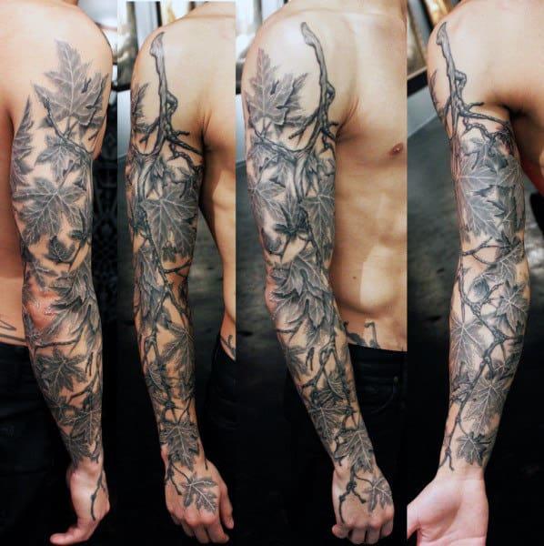 leaf tattoo design men