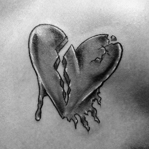 Broken Heart Tattoo Outline