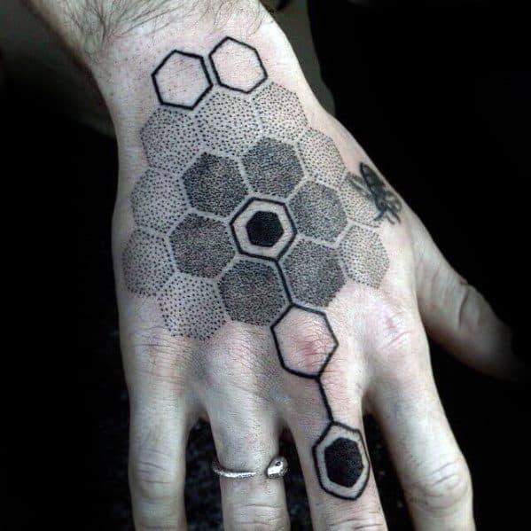 geometric hand tattoos men
