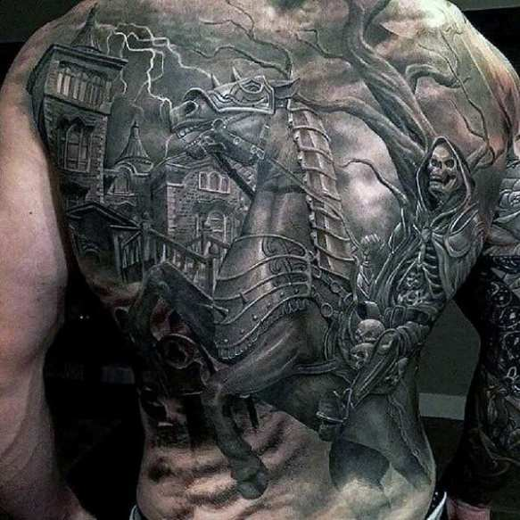 Male With Cool Incredible Tattoo Design Full Back