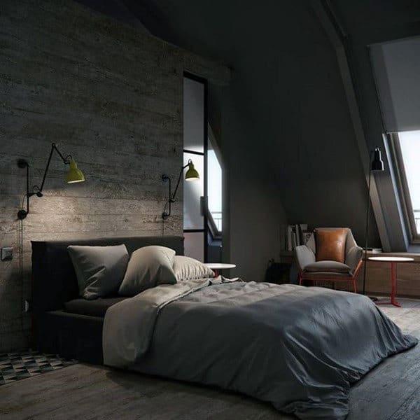 industrial grey bedroom 80 Bachelor Pad Men's Bedroom Ideas - Manly Interior Design