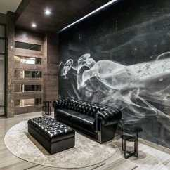 Living Room Ideas With Dark Leather Couches Wall Decorations For Rooms 75 Man Cave Furniture Men - Manly Interior Designs