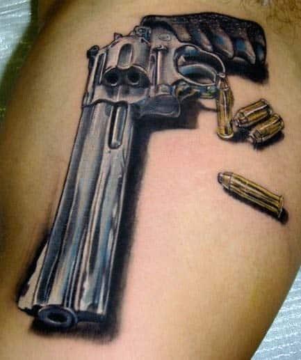 bullet tattoos men - shot
