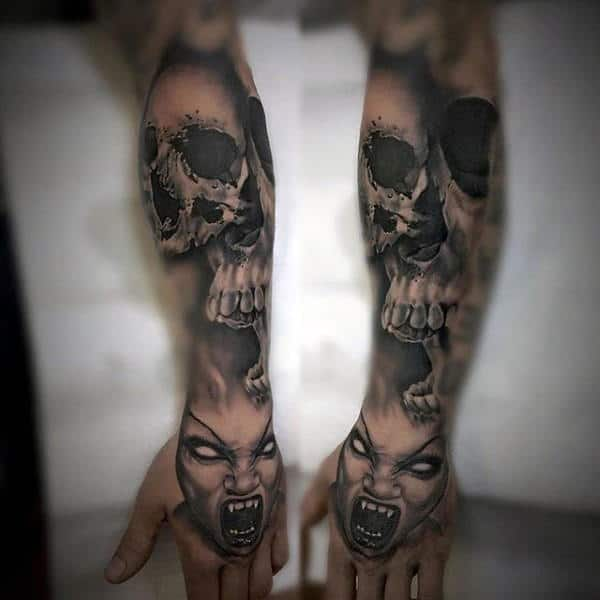 skull sleeve tattoos men
