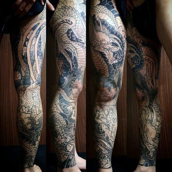 20 Dragon Leg Sleeve Tattoos Men Ideas And Designs