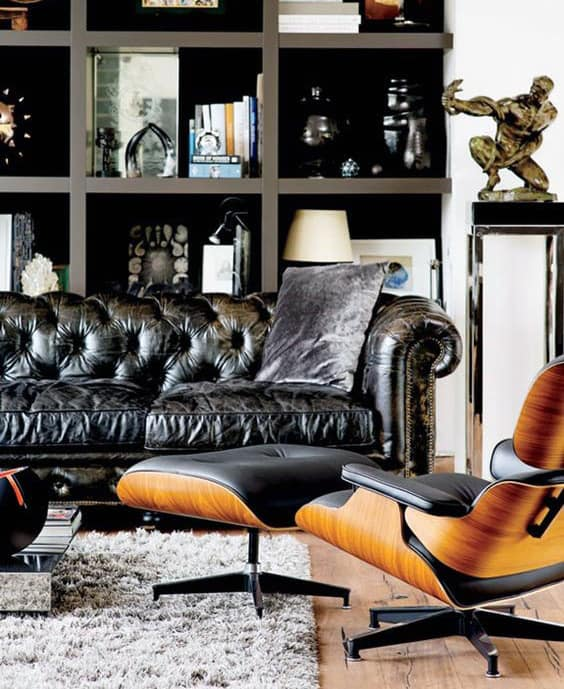 living room with brown leather couch ideas colours to match grey 75 man cave furniture for men - manly interior designs
