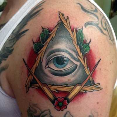 Mens Arms Illuminati Tattoo Leaves