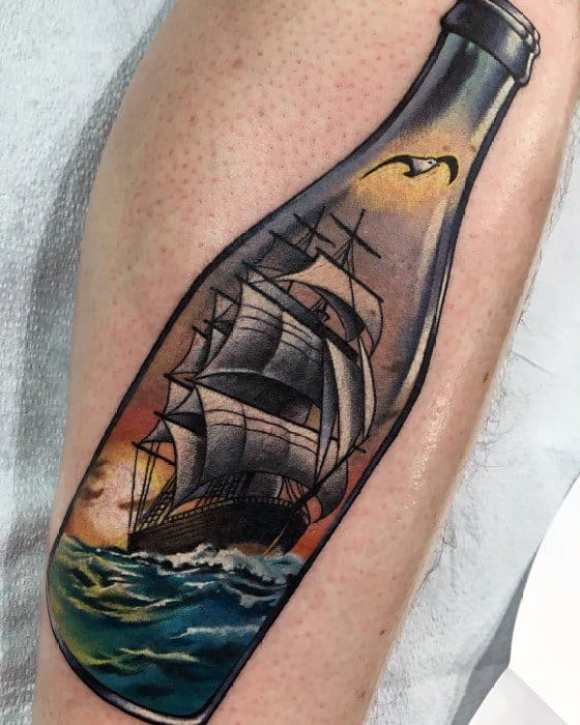 Mens Awesome Incredible Ship In A Bottle Leg Tattoo Ideas
