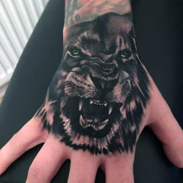 Female Lion Tattoo On Hand