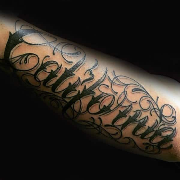 California Cursive Font Tattoos