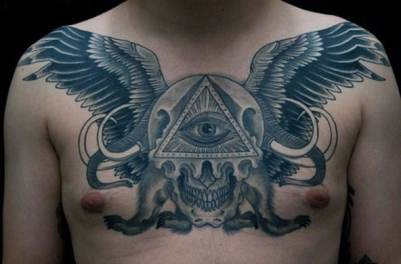 Mens Chest Grey Winged Illuminati Tattoo