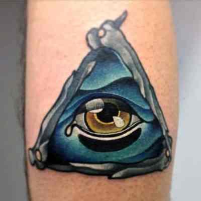 Mens Coral Blue And Eye Illuminati Tattoo