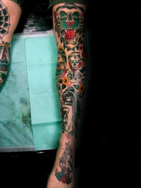 50 Traditional Leg Tattoos For Men Old School Design Ideas