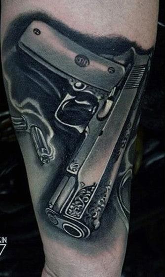 gun tattoos men - explosive