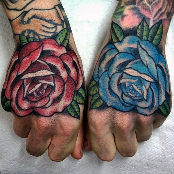 Small Rose Hand Tattoo Male