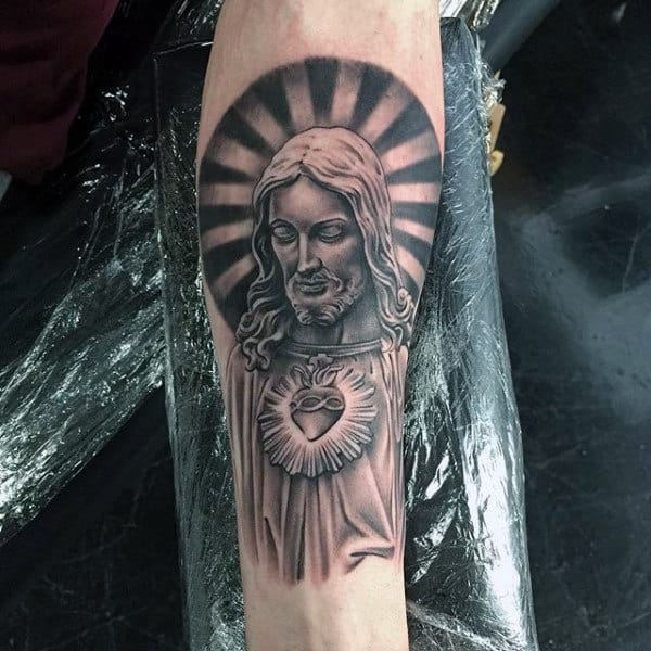 Attractive Grey Ink Jesus Tattoo On Right Forearm Tattoo Viewercom