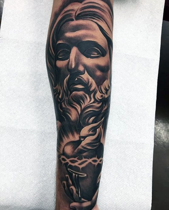 Jesus Tattoos For Men : jesus, tattoos, Jesus, Forearm, Tattoo, Designs, Christ, Ideas