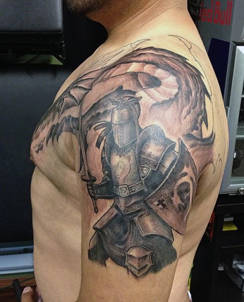 Traditional Knight Tattoo : traditional, knight, tattoo, Knight, Tattoo, Designs, Brave, Ideas