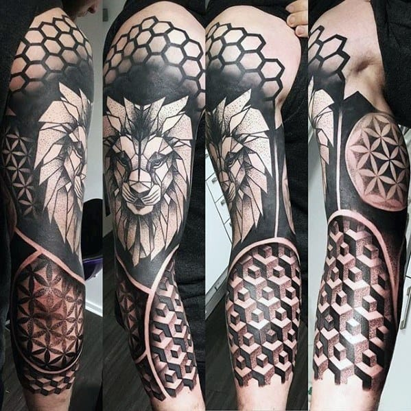 Geometric Half Sleeve Tattoo Designs