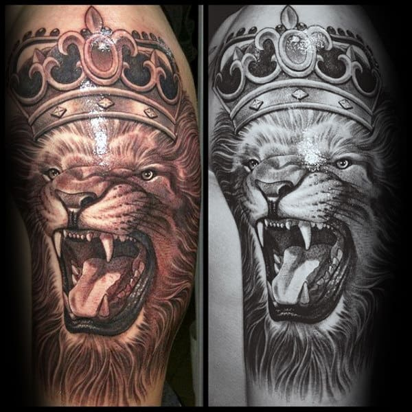 Roaring Lion Tattoo With Crown