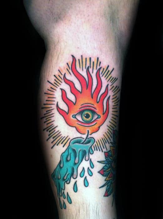 Traditional Fire Tattoo : traditional, tattoo, Traditional, Candle, Tattoo, Designs, Illuminated, Ideas