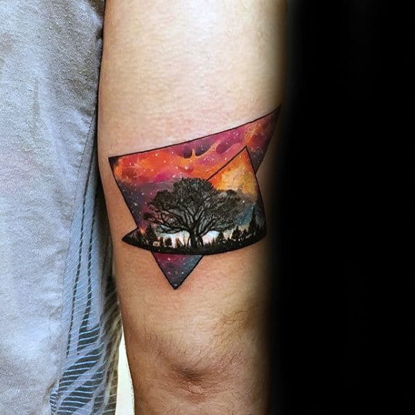 Mens Small Outer Space Sky With Tree Tricep Tattoo