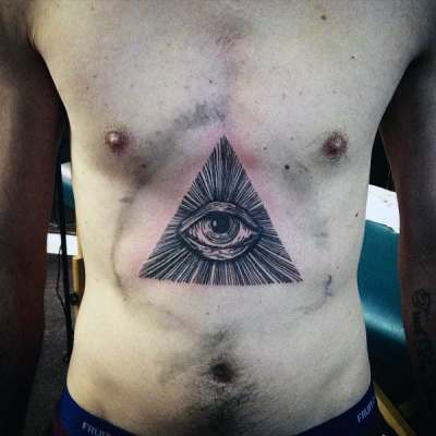 Mens Torso Black Lined Illuminati Tattoo