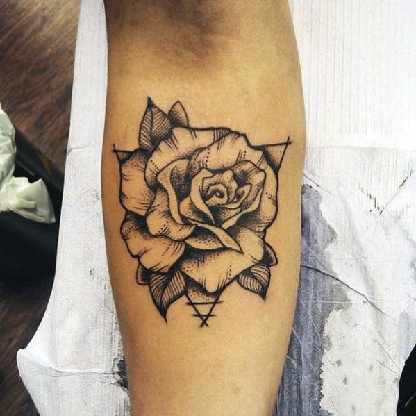 40 Geometric Rose Tattoo Designs For Men Flower Ink Ideas