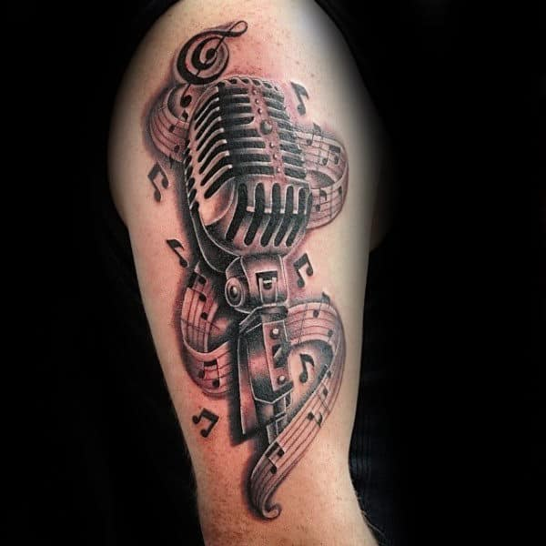 75 Music Note Tattoos For Men Auditory Ink Design Ideas