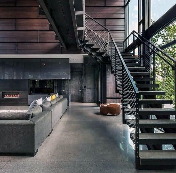 Top 70 Best Stair Railing Ideas Indoor Staircase Designs | Modern Metal Stair Railings Interior | Black Metal | Simple 2Nd Floor Railing Wood Stairs Iron Railing Design | Stair Heavy | Overlapping | Aluminum