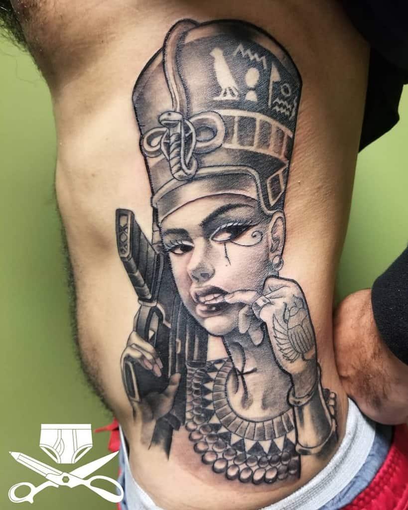 Smiling Queen Nefertiti Tattoo Photo
