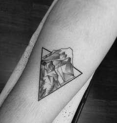 simple tattoo mountain tattoos designs cool triangle forearm inner range trees mens