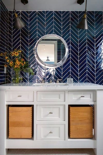 blue tile backsplash kitchen commercial exhaust fans top 70 best bathroom ideas - sink wall designs