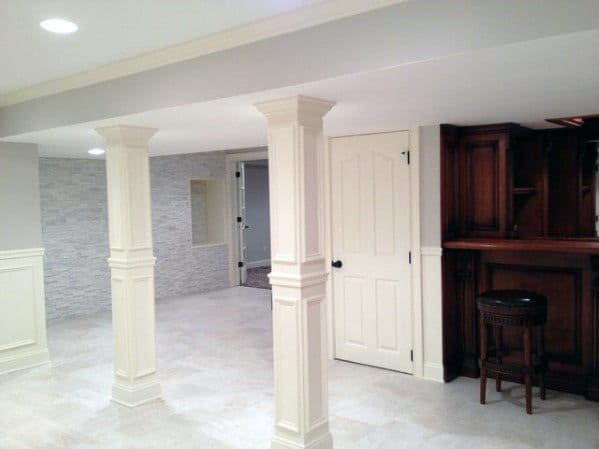 chair with built in bookshelf one kings lane chairs top 50 best basement pole ideas - downstairs column cover designs