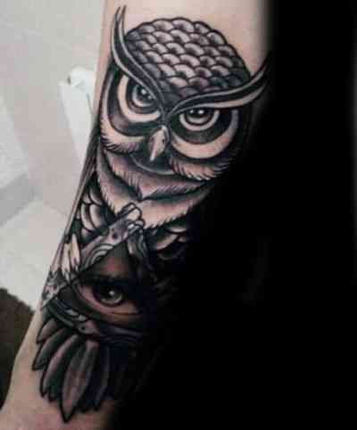 Owl Illuminati Tattoo Male Forearms